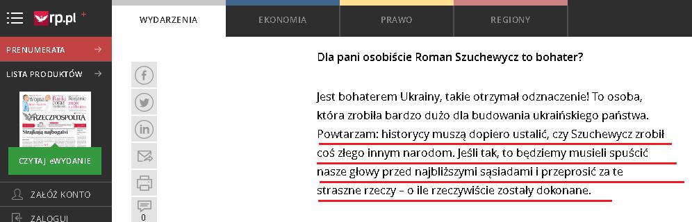 La frase de la entrvista en el diario polaco Rzeczpospolita