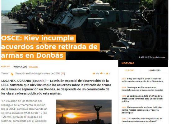 Falso: OSCE culpó a Ucrania por incumplimiento de los acuerdos sobre retirada de armas en Donbás