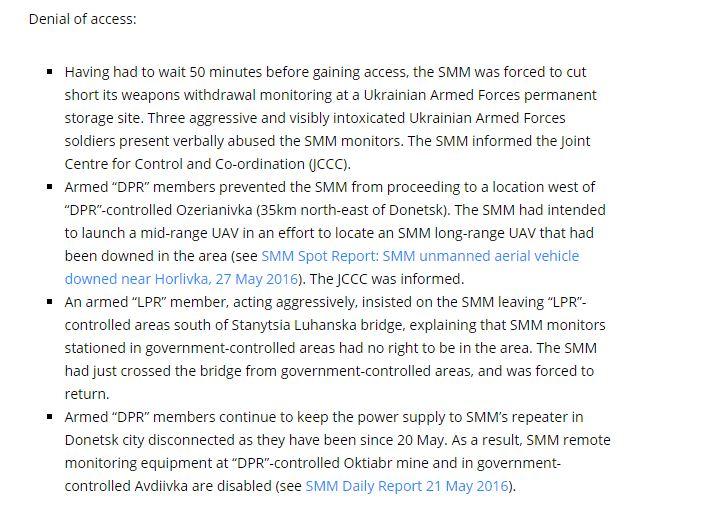 El otro párrafo del mismo informe por la SMM OSCE