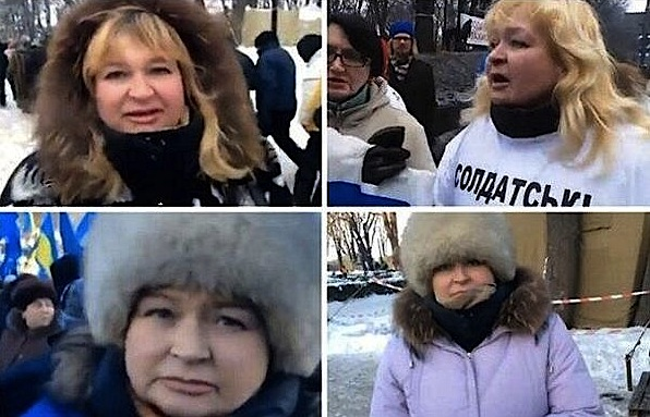 """Donetsk refugee, Odesa refugee, mother of a soldier and Kyiv protester - """"all-in-one"""" hero of various Russian media reports. Image from belaruspartisan.org"""