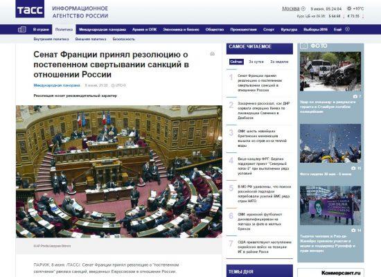 TASS Distorts French Senate Resolution on Russia Sanctions
