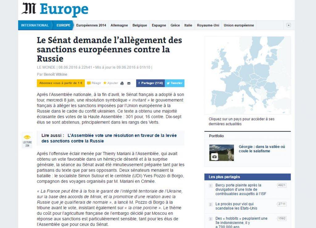 La nota sobre el asunto por el diario francés, Le Monde