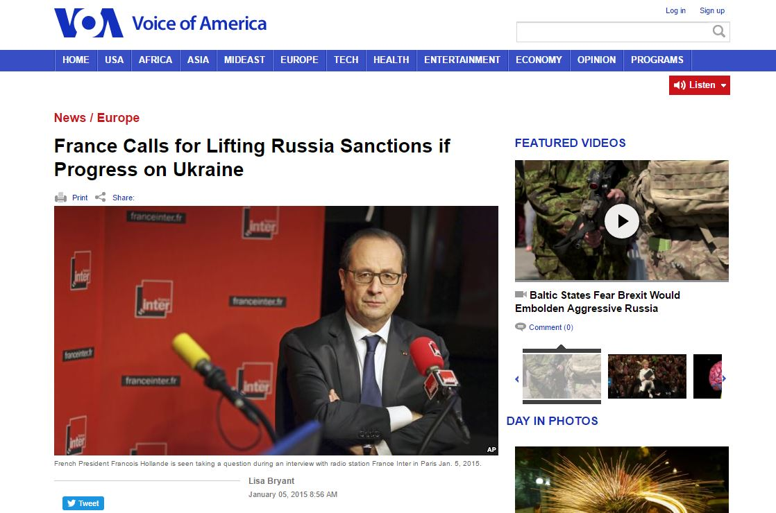 "Website screenshot ""Voice of America"""