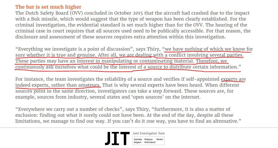 La cita completa del informe del JIT