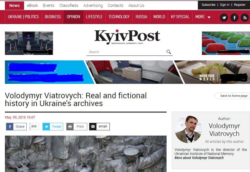 La refutación por V. Viatrovych en Kyiv Post