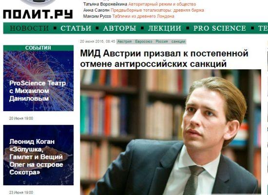Un titre trompeur : l'Autriche propose d'abolir les sanctions contre la Russie