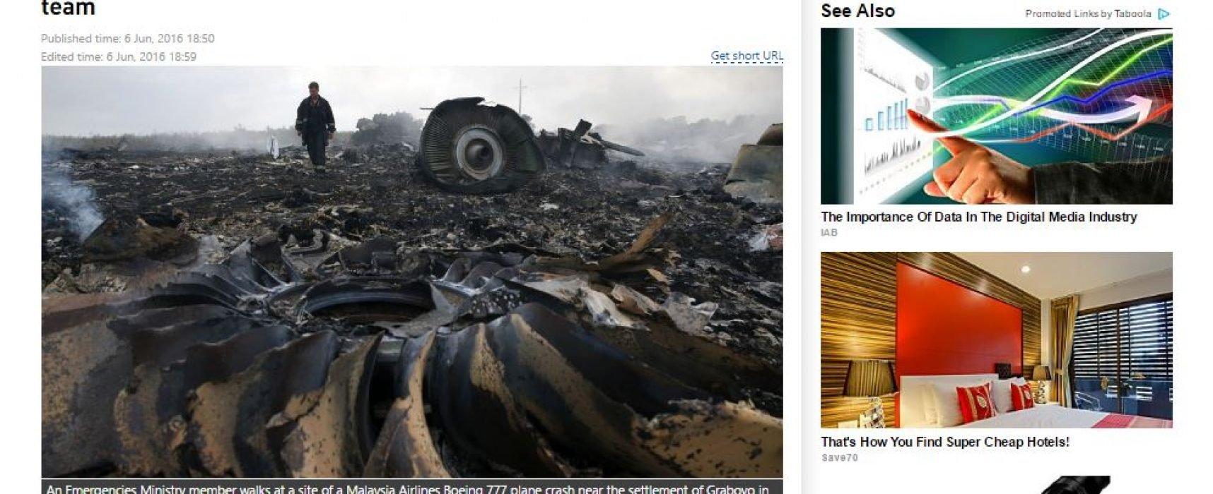 RT исказила текст доклада по делу MH17