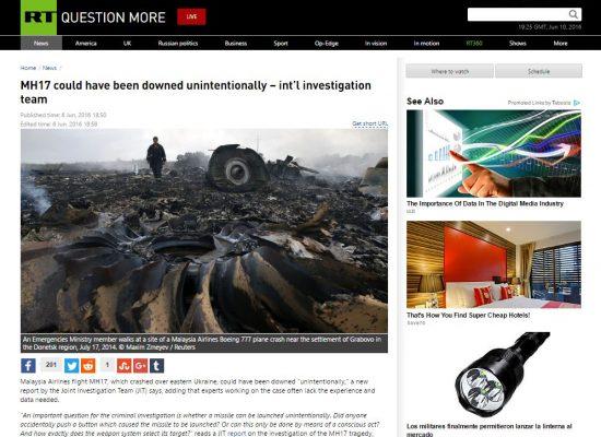 RT a déformé le contenu du rapport sur l'accident du vol MH17 du 17 juillet 2014
