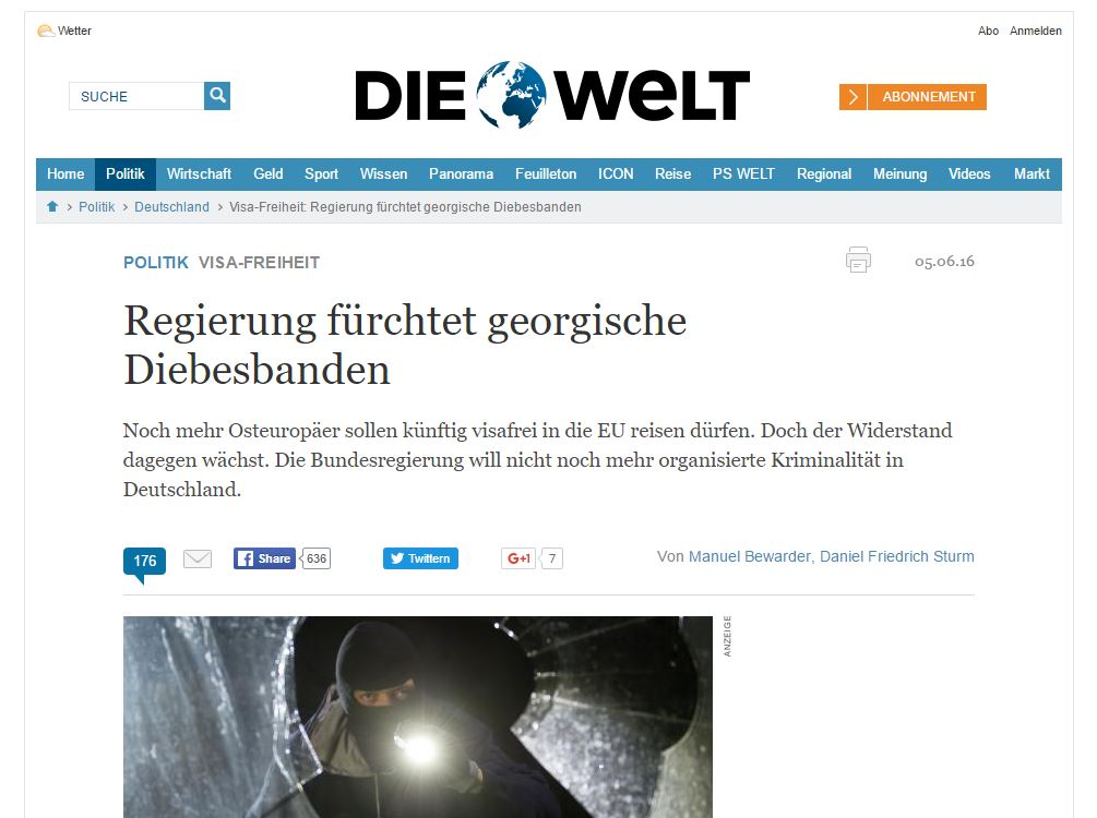 Website screenshot Die Welt