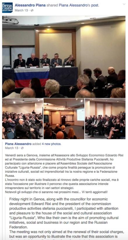 Скриншот на страницата на Alessandro Piana във Facebook