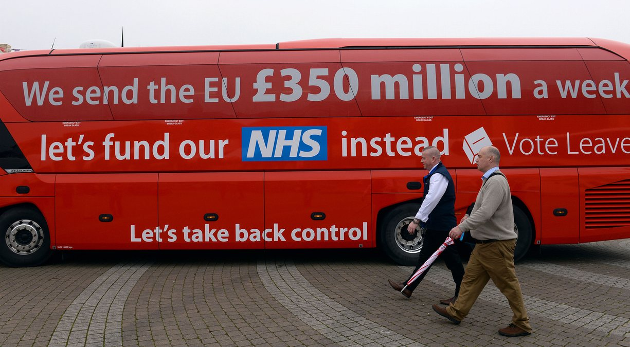 The Vote Leave campaign bus, featuring a widely disputed claim about UK contributions to the EU. Photograph: Stefan Rousseau/PA