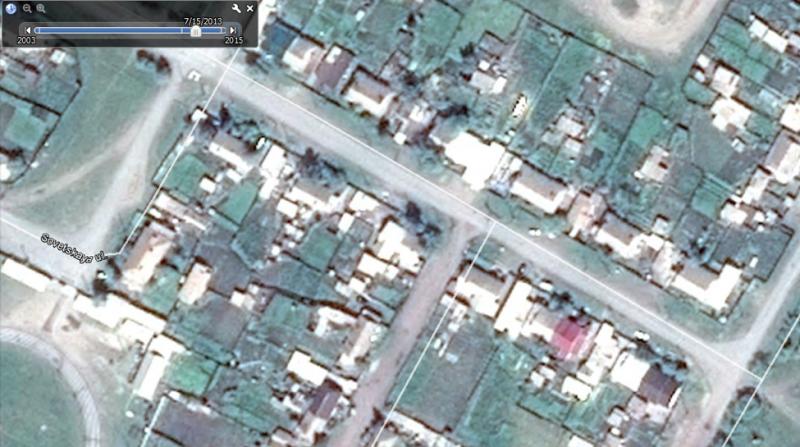 Figure 10: Screen capture from Google Earth of Mira Street in Shira, Khakassia, from July 15, 2013