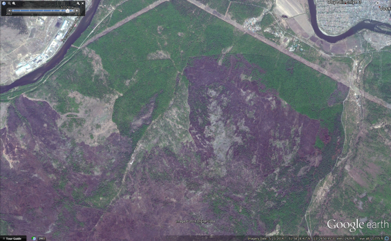 Figure 7: Screen capture from Google Earth of an area near Chita, May 2014