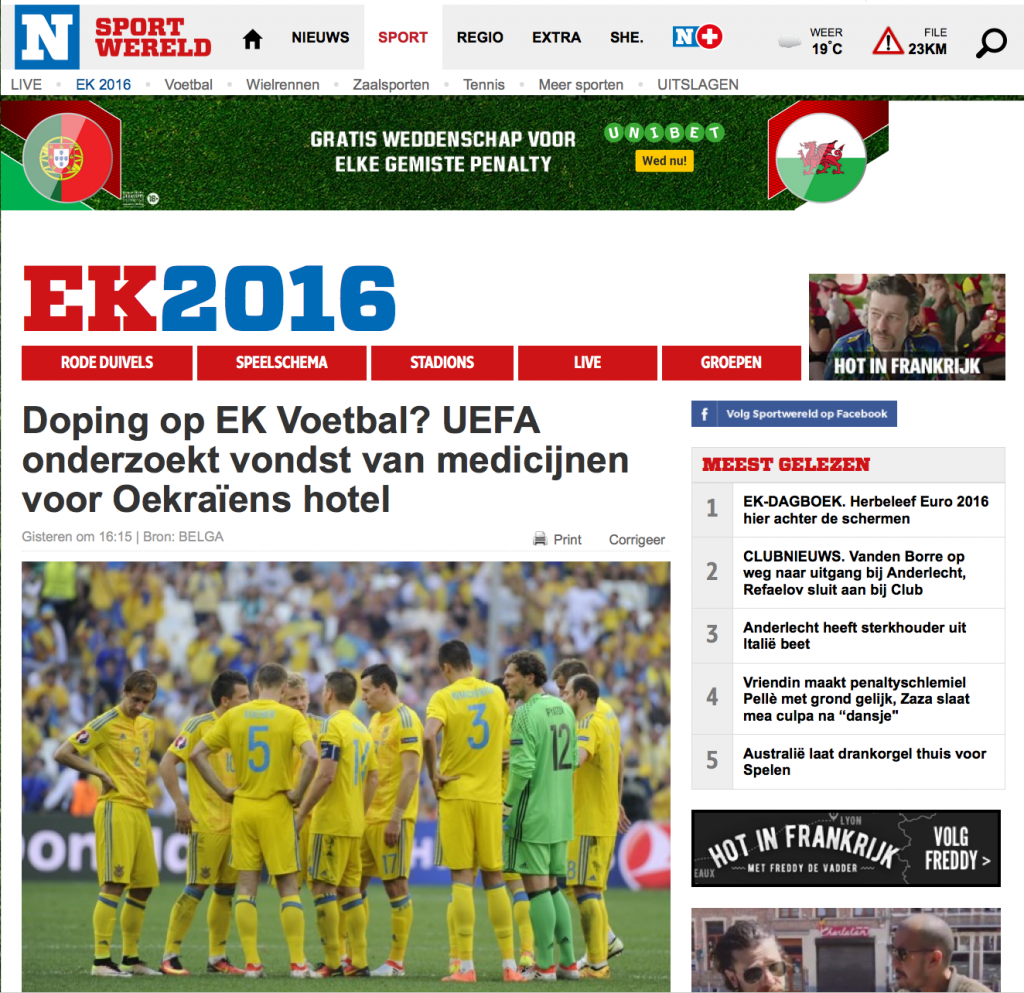 Скриншот на сайта Het Nieuwsblad