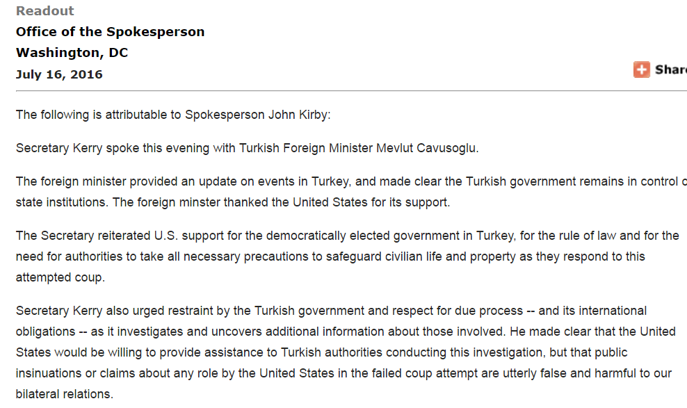 Website screenshot du Département d'Etat