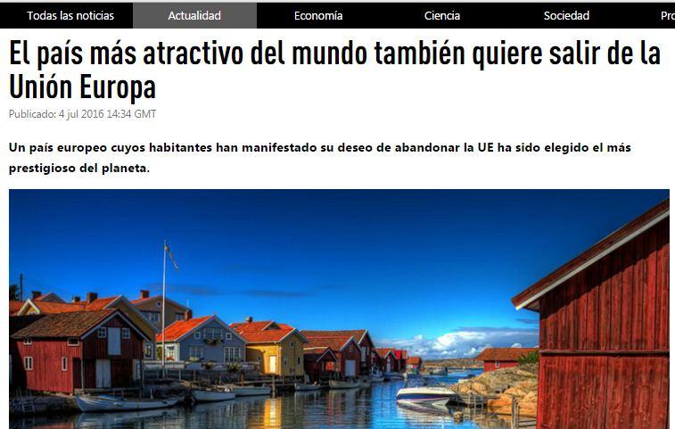 Website screenshot de RT (version en espagnol)