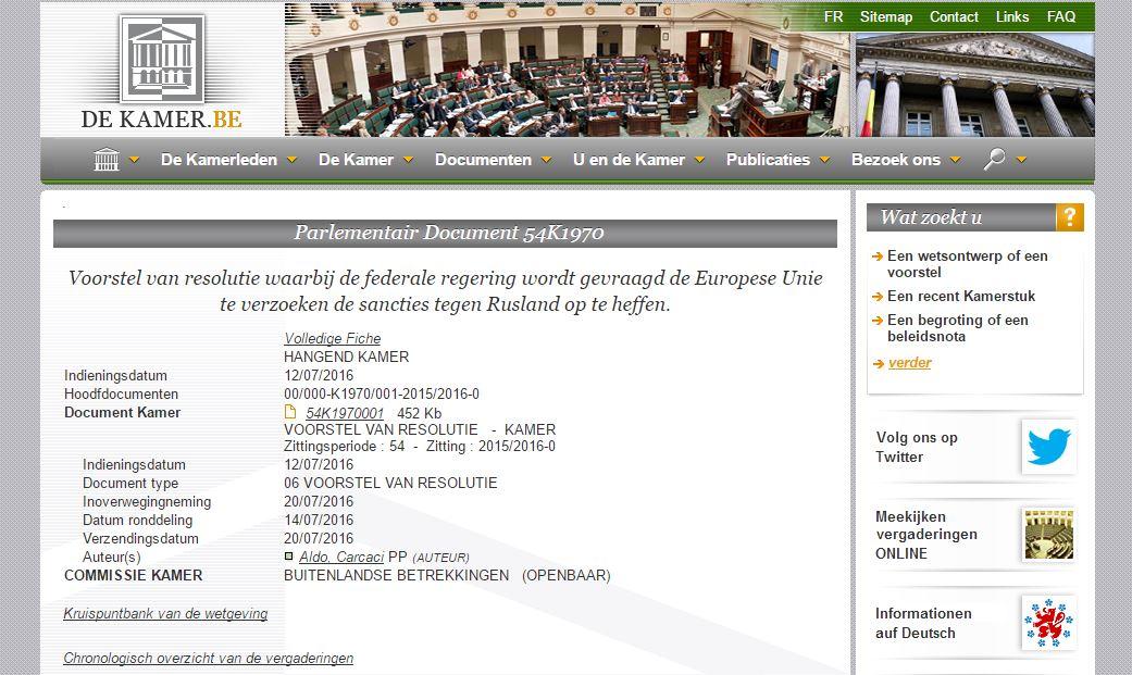 La página oficial del parlamento bélgico
