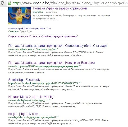 Скриншот на страницата с резултатите от търсенето в Google