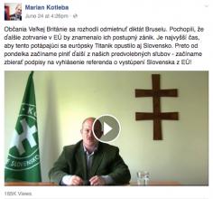 Marian Kotleba, leader of far-right LSNS announces referendum proposal on Slovak European membership