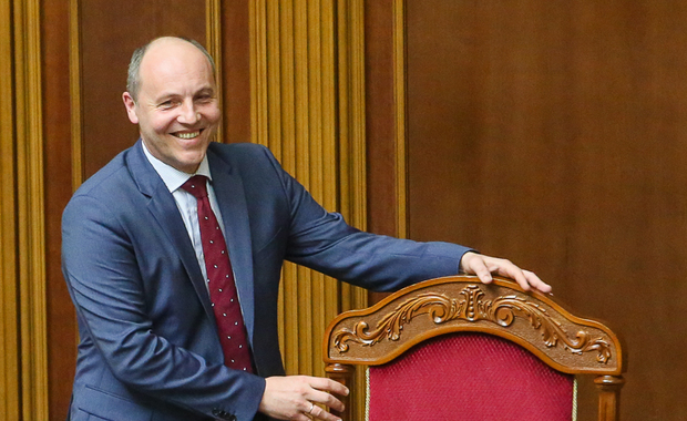 Andriy Parubiy, newly appointment chair of the Ukrainian parliament, smiles during a parliamentary session in Kyiv on April 14. Photo by Volodymyr Petrov