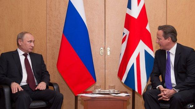 La foto del encuentro de Vladimir Putin con David Cameron  en 2014
