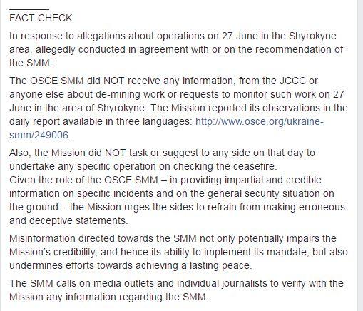 El mensaje por la misión de la OSCE en su página de Facebook