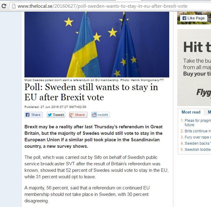Website screenshot The Local.se