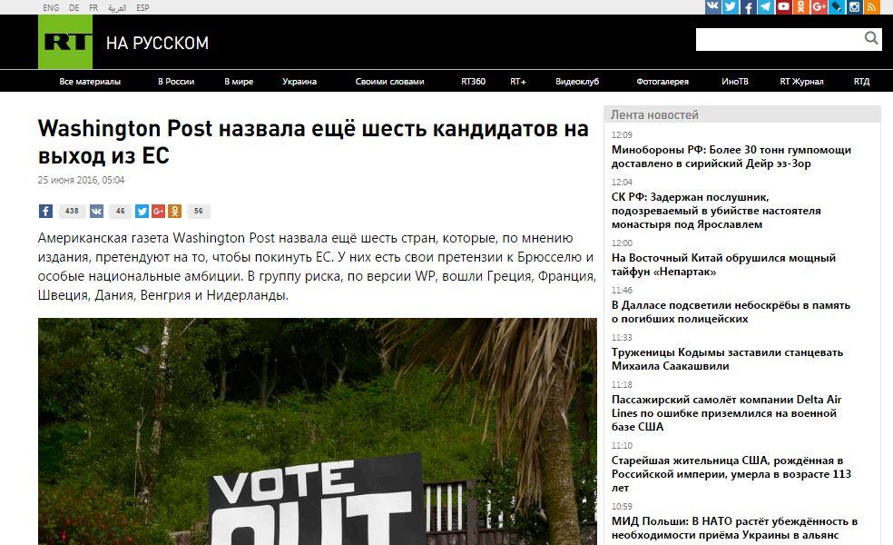 Website screenshot de Russia Today