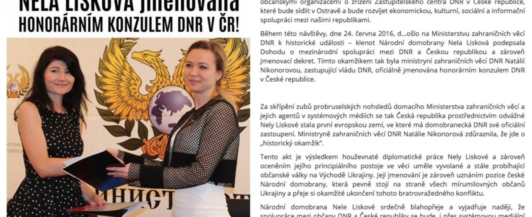 Fake: Ouverture du «Centre représentatif de la République Populaire de Donetsk» en République Tchèque