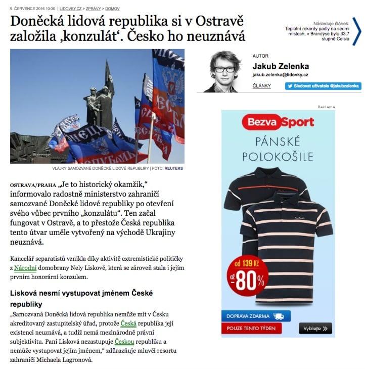 Скриншот на lidovky.cz