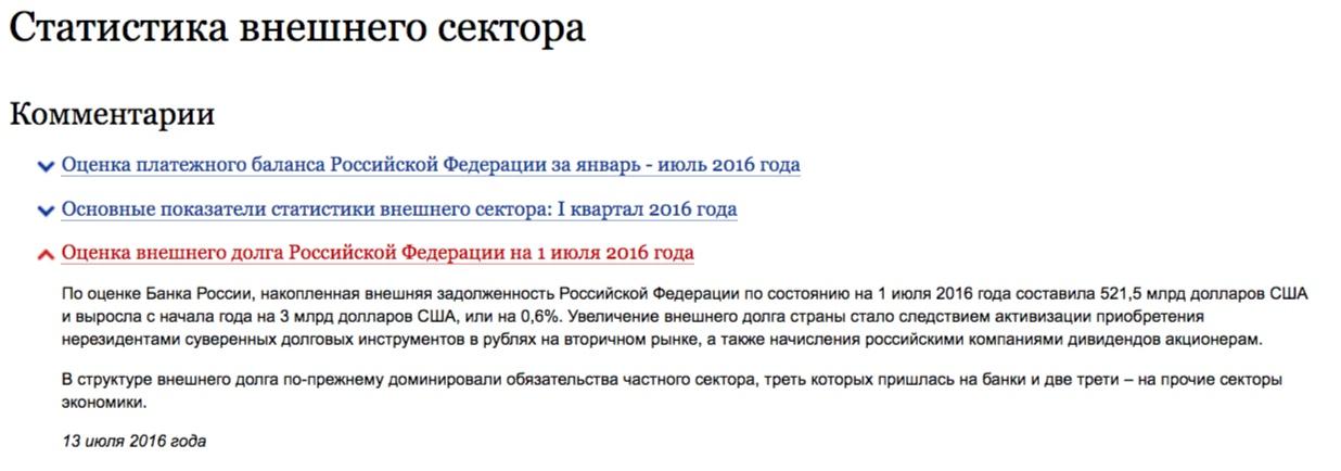 Los datos sobre la deida de Rusia el 1 de julio de 2016, cbr.ru