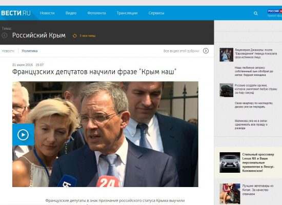 French MPs visit Crimea; Russian propaganda celebrates