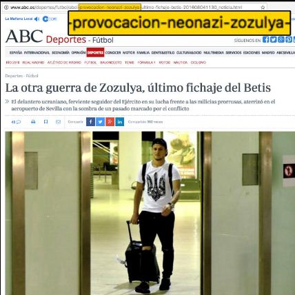 "Website screenshot «ABC de Sevilla» (dans l'address ""provocacion neonazi zozulya"")"