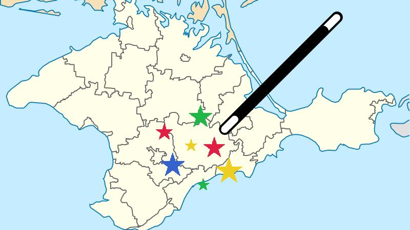 Como por arte de magia, Google Maps cambió los nombres de algunas ciudades de Crimea de la noche a la mañana. Imágenes editadas por Tetyana Lokot. Vía Global Voices