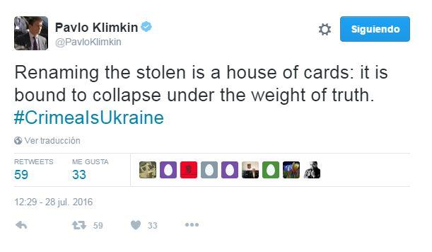 Klimkin: Cambiarle el nombre a lo robado es un castillo de naipes: es seguro que colapsa bajo el peso de la verdad.