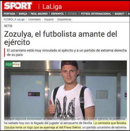 """А Sport.es заявява"""" че Зозуля е «украинец, който е в тясна връзка с армията и с крайнодесните в страната си»"""