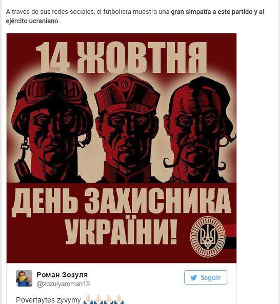 Поздравление футболиста с Днем защитника Украины в Твиттере издание Sport.es расценило, как любовь к Правому сектору