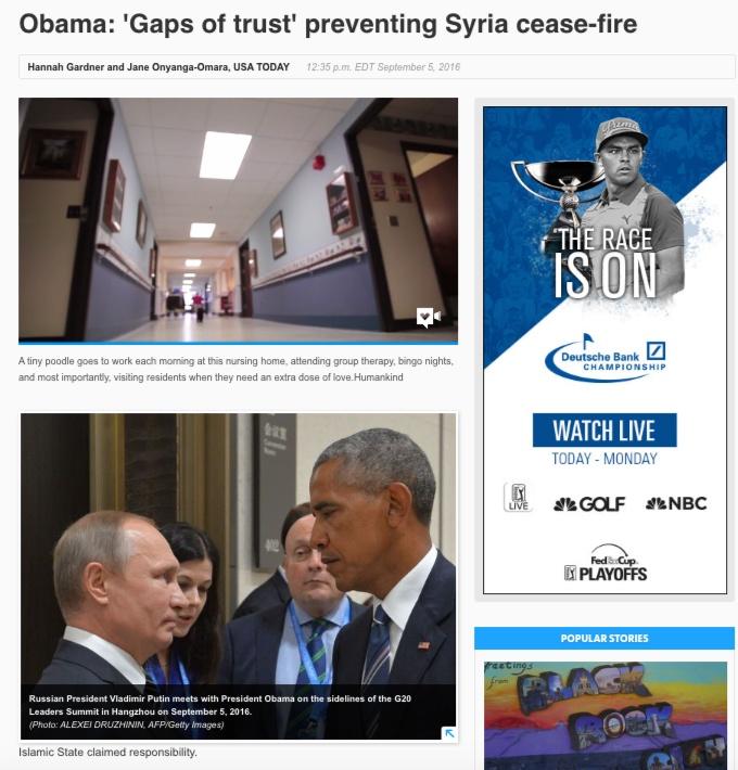 """""""Obama: falta de confianza previene el cese del fuego en Siria"""", usatoday.com"""