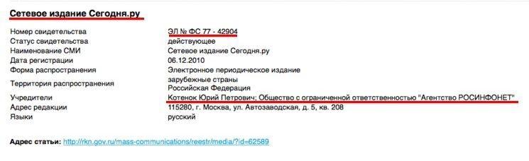 Detail from the Roskomnadzor register showing Yury Petrovich Kotenok as segodnia.ru's founder