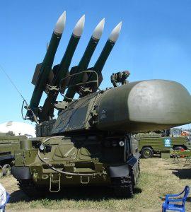Buk-M1-2 SAM system. 9A310M1-2 self-propelled launcher. MAKS, Zhukovskiy, Russia, 2005.