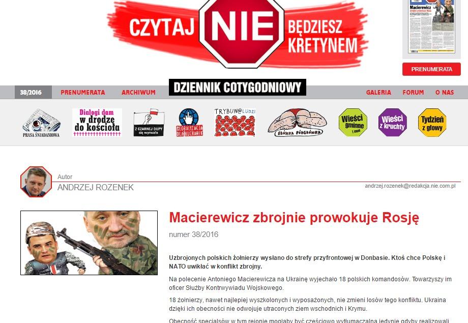 Скриншот nie.com.pl