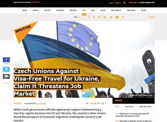 Czech unions against Ukrainian visa free travel to EU