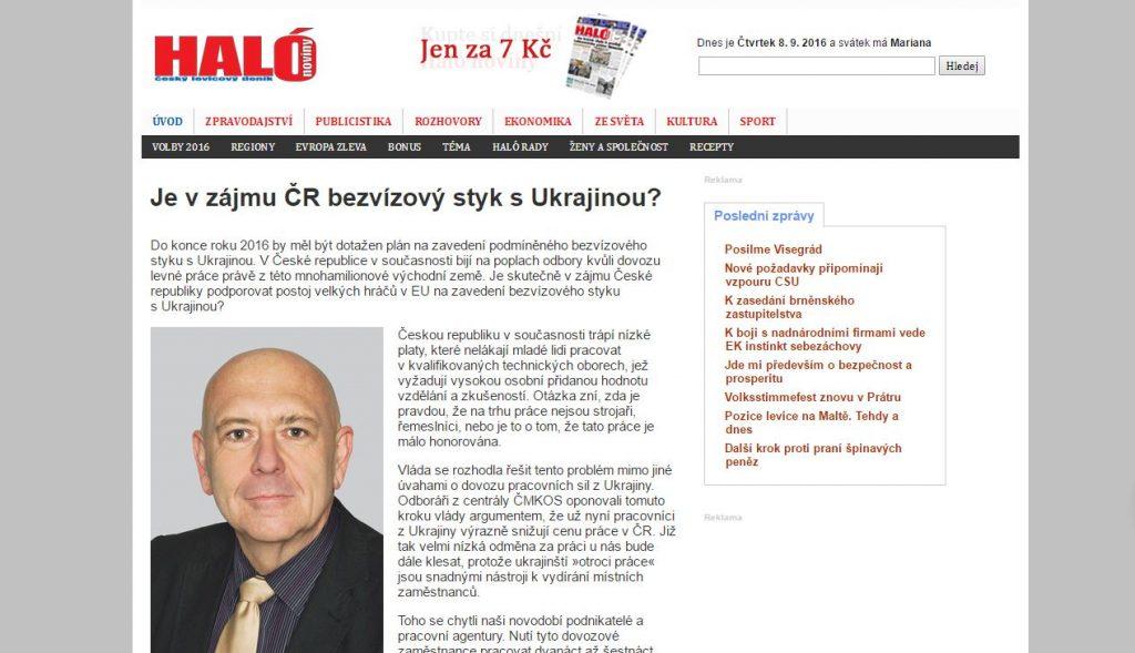 Website screenshot de halonoviny.cz