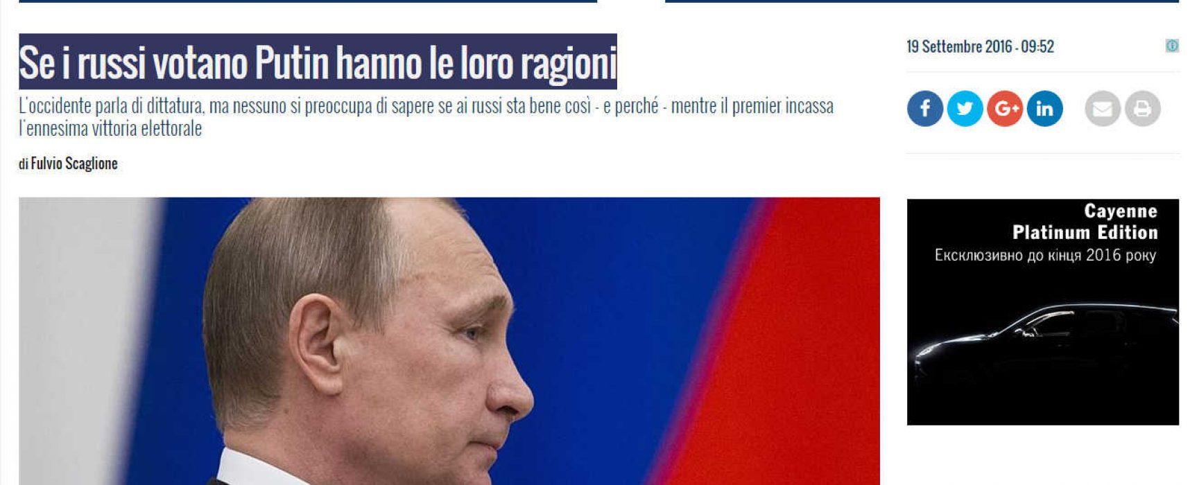 Un esempio di propaganda russa in Italia : Se i russi votano Putin hanno le loro ragioni