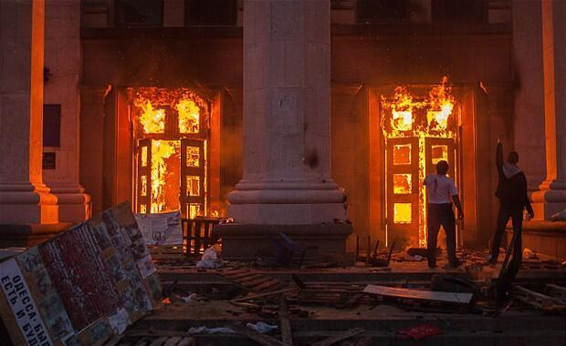 The scene of the fire in Odesa on May 2, 2014. Photo by 3dblogger.typepad.com
