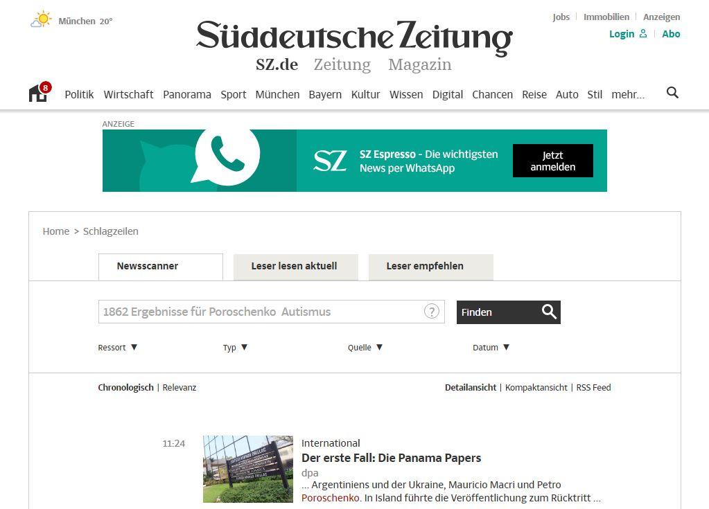 Website screenshot Süddeutsche Zeitung