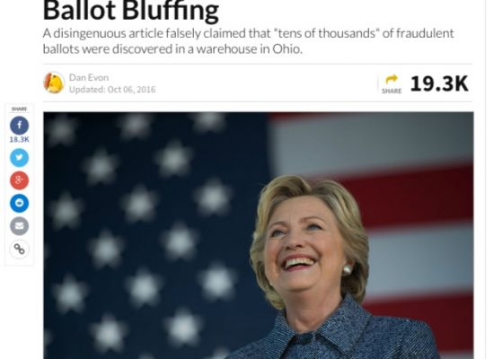Fake: Pre-Marked Ballots Cast for Hillary Clinton Discovered