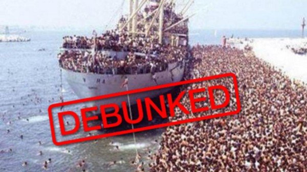 """France24 uses a debunk stamp effectively. Vice, the Huffington Post and the BBC also used debunking recently in support of refugees—unfortunately they often recirculate hoax imagery without any modification or visual """"hedging"""""""