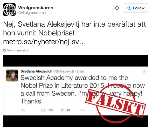Falskt!—Good example of displacement. The original is still readable but the judgment is clear