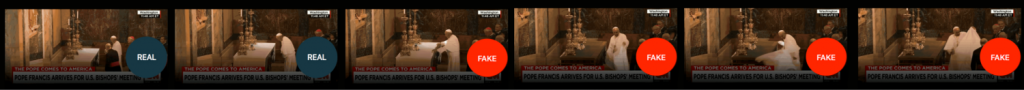 Example filmstrip—Perhaps in addition to the darkening technique and label overlay, we could use a filmstrip style to show exactly where the edit starts. Similarly, Flackcheck recommends a matrix and Novak uses the side-by-side